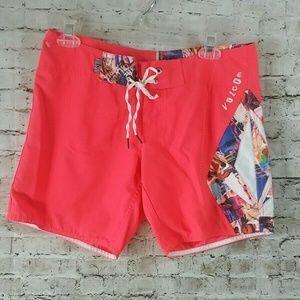 volcom swim shorts board swim 2000's coral sz 3